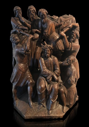 <= 16th century - Christ crowned with Thorns oak group.Early 16th century
