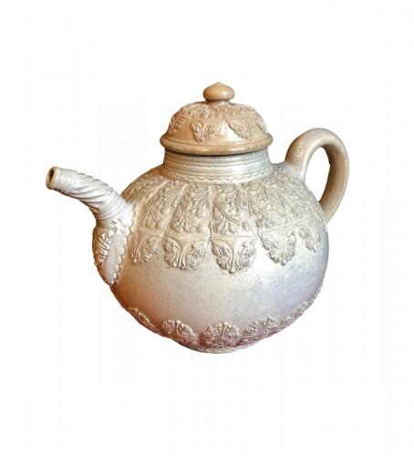 A Westerwald stoneware teapot, 18th century