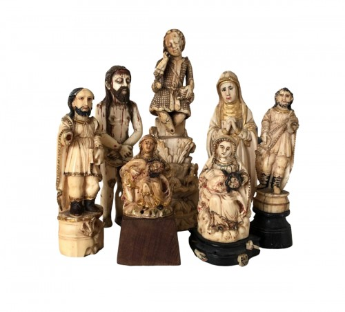 A group of seven ivory figures.Indo-Portuguese, Late 17th century.