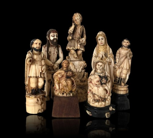 A group of seven ivory figures.Indo-Portuguese, Late 17th century. - Objects of Vertu Style
