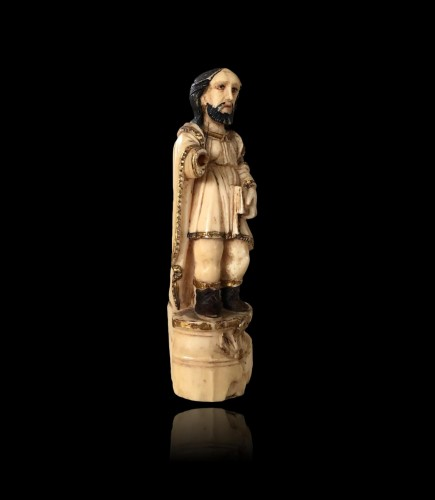 Antiquités - A group of seven ivory figures.Indo-Portuguese, Late 17th century.