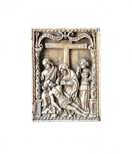 Ivory plaque of a diptych.The Descent from the Cross.Early 16th century.