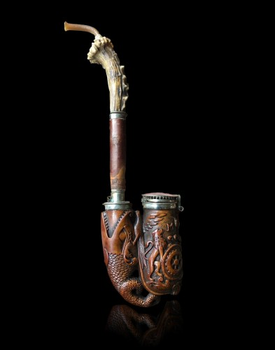 A German 'Ulmer-Kloben' pipe with silver mounts. Ca.1800 - Curiosities Style