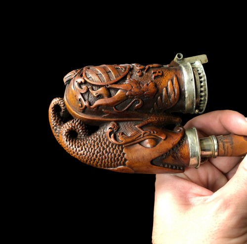 19th century - A German 'Ulmer-Kloben' pipe with silver mounts. Ca.1800