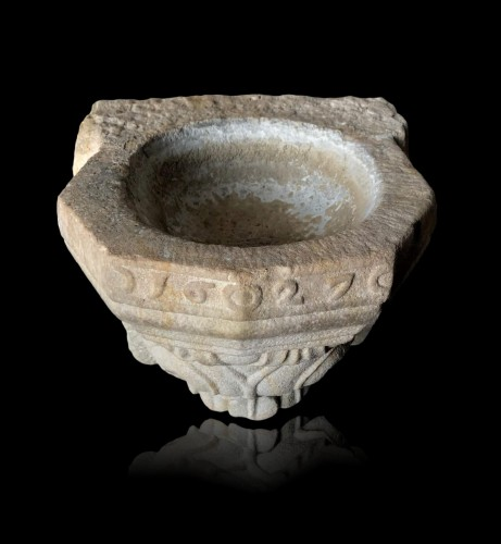 Stone holy water font,17th century - Religious Antiques Style