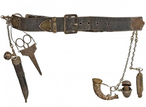 Leather and silver women's belt, 19th century