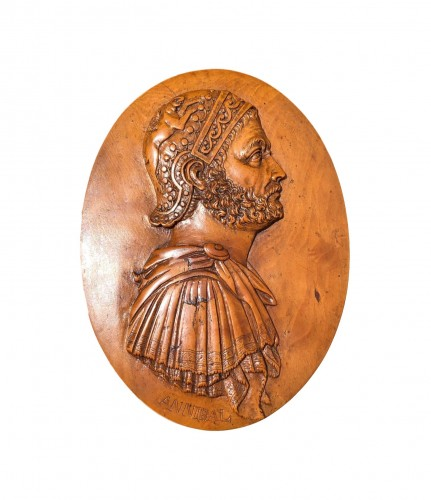 An oval boxwood relief of Hannibal18th century