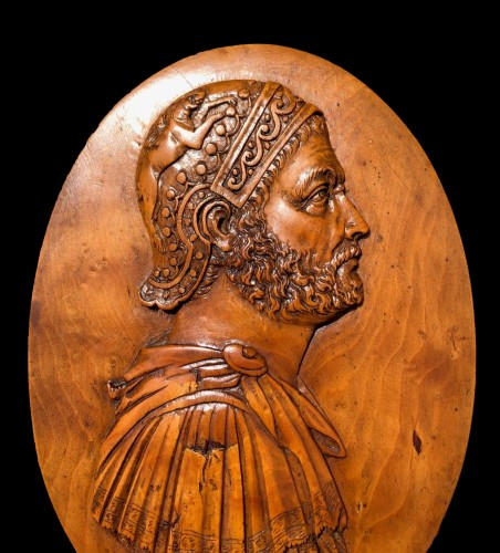 An oval boxwood relief of Hannibal18th century -