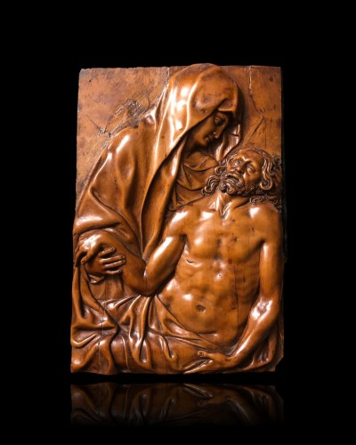A boxwood relief with the Pieta 17th century - Sculpture Style Louis XIV
