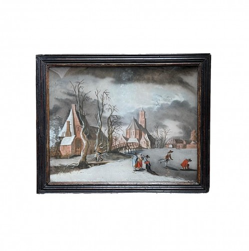 Winterlandscape reverse paiting, South Germany.17th century