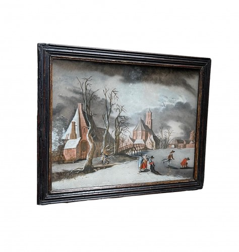 Winterlandscape reverse paiting, South Germany.17th century - Decorative Objects Style