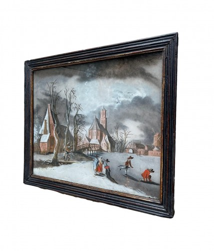 Decorative Objects  - Winterlandscape reverse paiting, South Germany.17th century