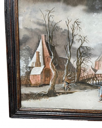 Winterlandscape reverse paiting, South Germany.17th century -