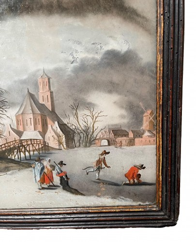 17th century - Winterlandscape reverse paiting, South Germany.17th century