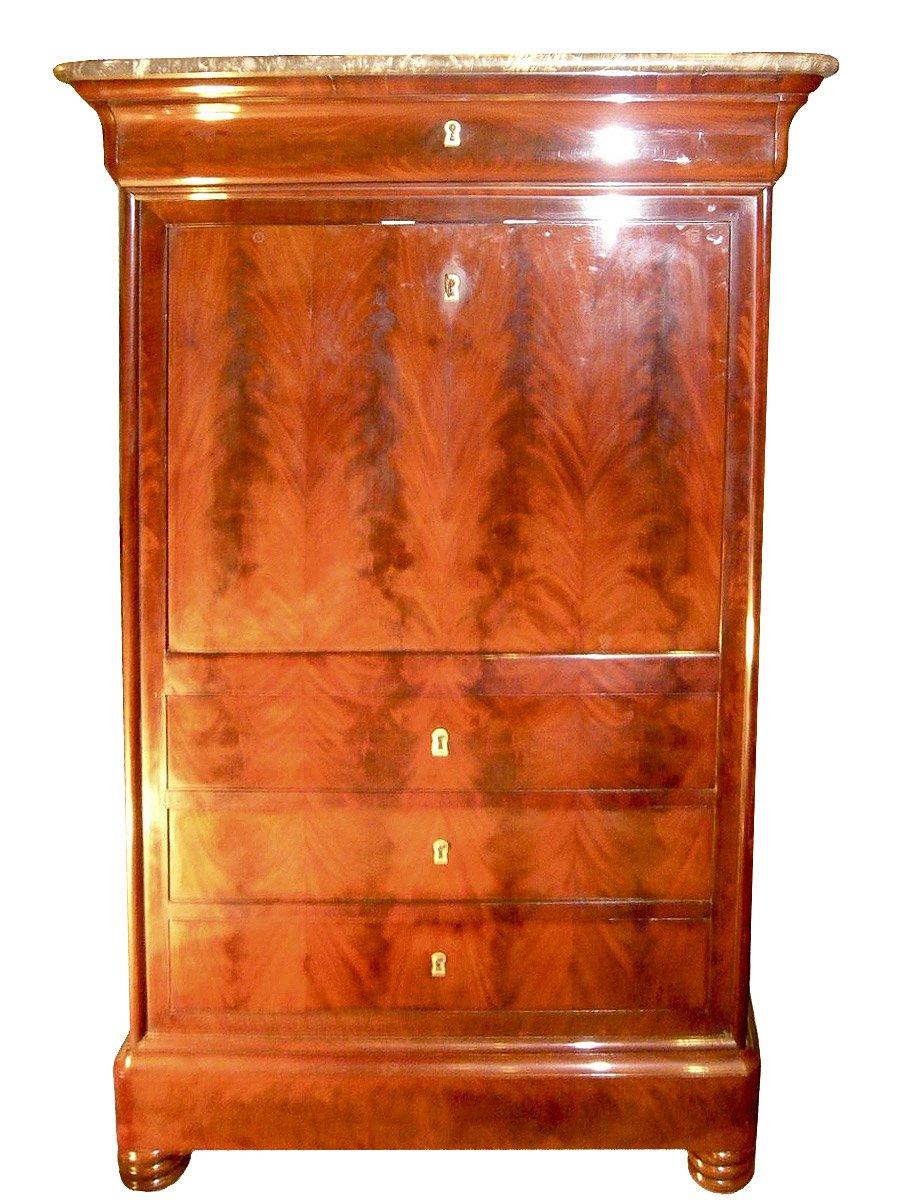 secr taire en acajou flamm poque louis philippe xixe. Black Bedroom Furniture Sets. Home Design Ideas