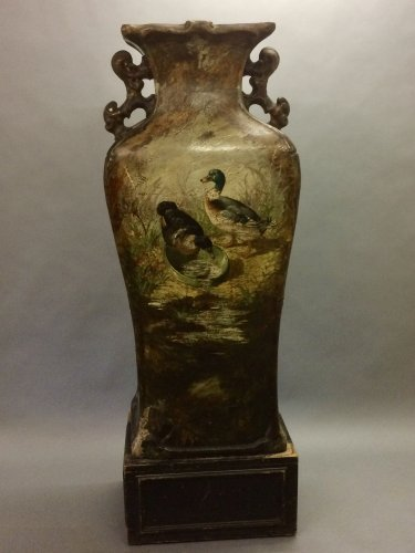 19th century - Very large glazed terracotta vase Albert Leon Lebarque
