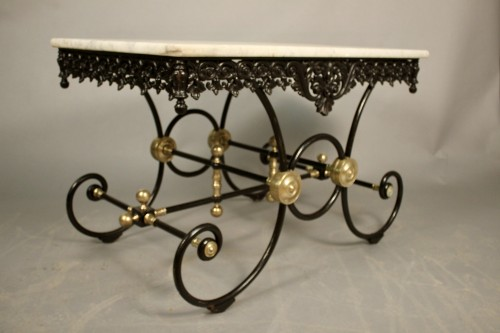 Table de boucher en fonte et marbre de Carrare - Mobilier Style Louis-Philippe