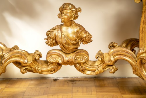 Important Italian console table, Genoa, second quarter !8th century  - Furniture Style French Regence