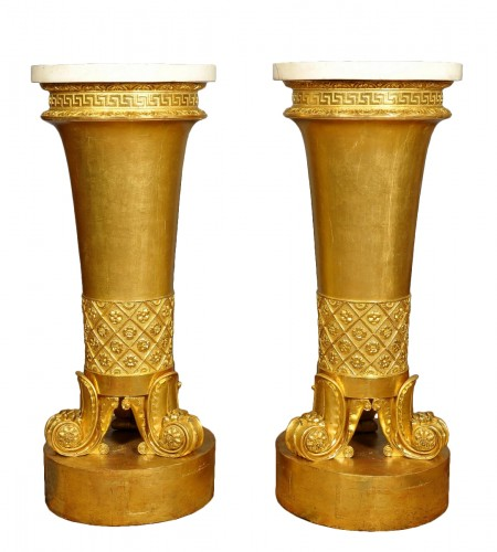 An unusual and rare pair of italian gueridon, circa 1820, Genoese