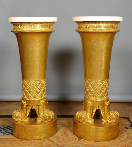 An unusual and rare pair of italian gueridon, circa 1820, Genoese - Furniture Style Empire