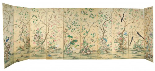Set of ten polichrome-painted wallpaper, Torino, late XVIII century
