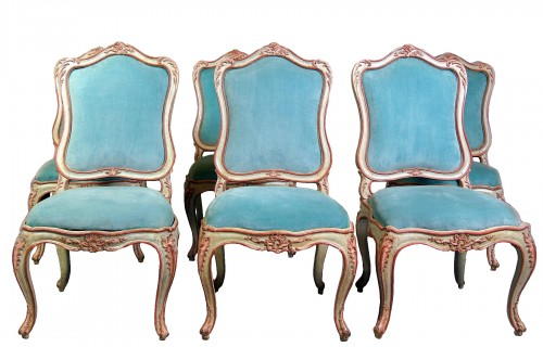 Set of six italian painted chaises, Genoa, mid 18th century