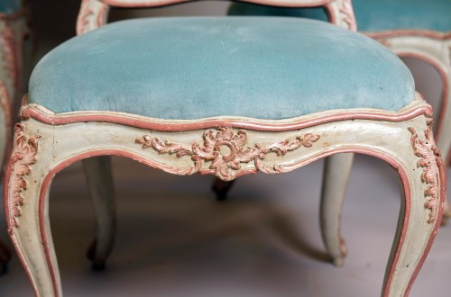 Set of six italian painted chaises, Genoa, mid 18th century - Seating Style Louis XV