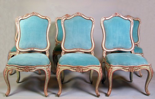 Set of six italian painted chaises, Genoa, mid 18th century -