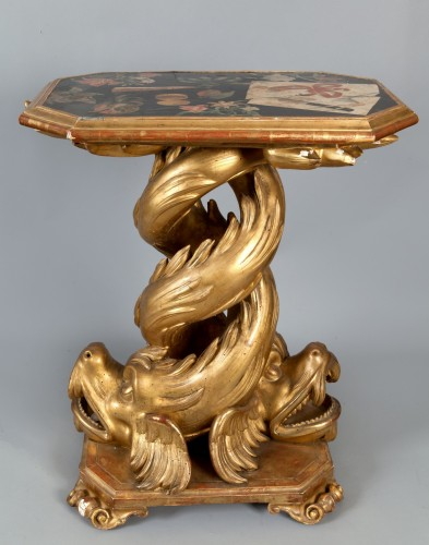 Centre table with scagliola top, Genoa, XVIII cent. - Furniture Style Louis XIV