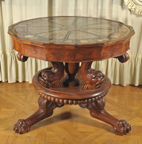 Important centre table with pietre dure and marbles top, Naples, circa 1820 - Furniture Style Restauration - Charles X