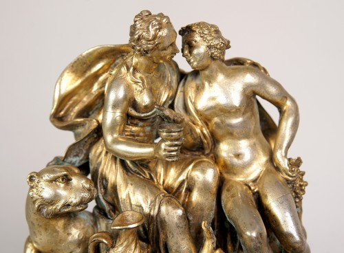 Sculpture  - Gilted and silvered bronze center piece, early XVIII century