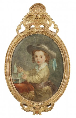 Portrait of boy with hat, french school, XVIII century