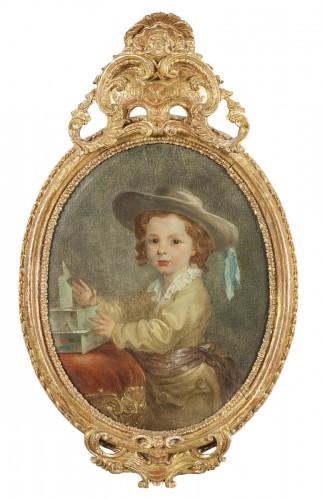 Portrait of boy with hat, french school, XVIII century
