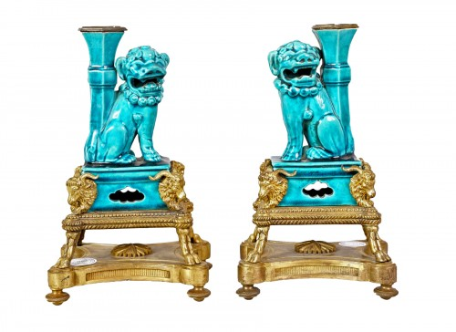 Pair of porcelain dogs with L. XIV style gilded bronzes, half XIX century