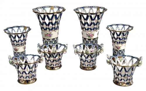 Set of heigh glazed terracotta basket vases, England, end XIX century