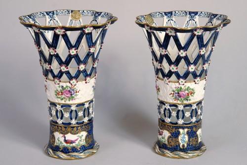 Porcelain & Faience  - Set of heigh glazed terracotta basket vases, England, end XIX century