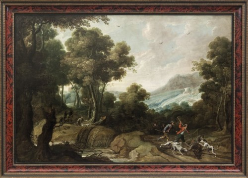 Hunting scene in a landscape, Jan Vildens ( 1586 - 1653 )