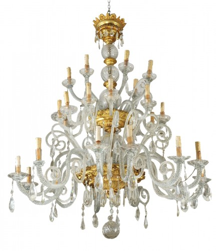 Giltwood and glass large italian chandelier, Livorno , early XIX cent.