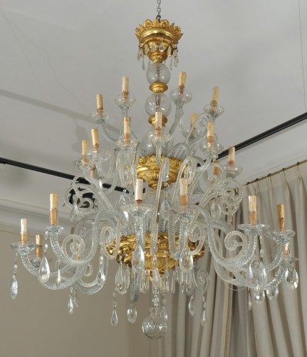Giltwood and glass large italian chandelier, Livorno , early XIX cent. - Lighting Style Restauration - Charles X