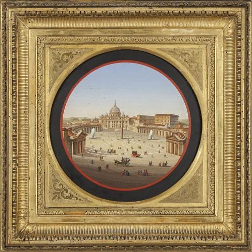 Fine micro mosaic representing square S. Pietro ( Roma ), half XIX cent.