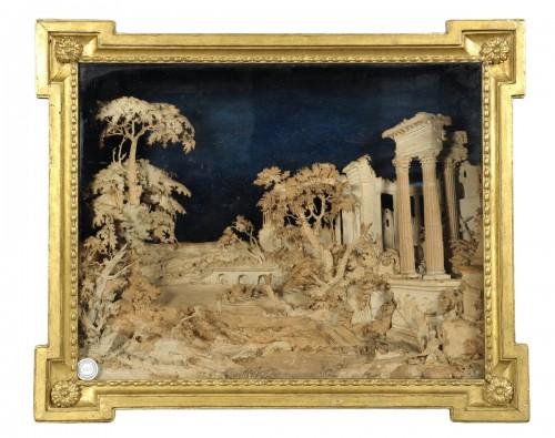 Fine paper and papier mache Louis XVI diorama, end XVIII cent.