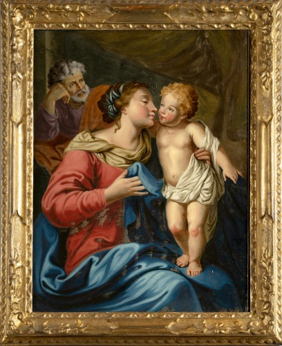 Painting under glass, Madonna and Child, Venetian school, XVIII cent.