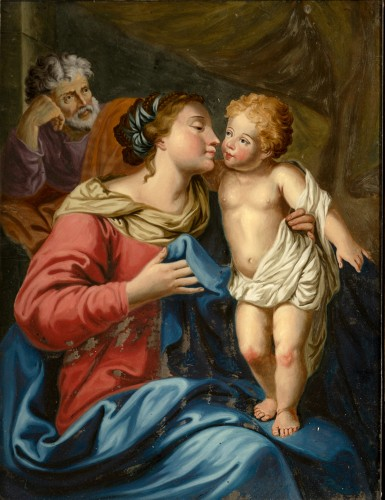 Painting under glass, Madonna and Child, Venetian school, XVIII cent. - Paintings & Drawings Style Louis XV