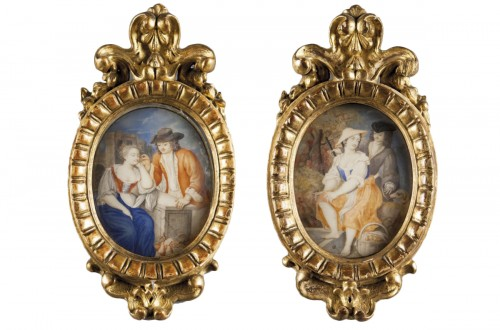 Paire of miniatures painted on ivory, beautiful coeval frames,  XVIII cent.