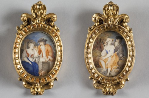 Paire of miniatures painted on ivory, beautiful coeval frames,  XVIII cent. - Objects of Vertu Style Louis XVI