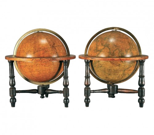 Pair of celestial and terrestrial globes, mid 19th century