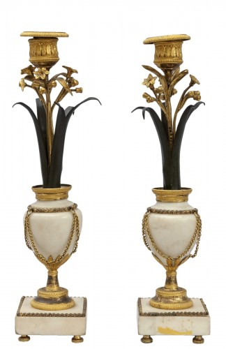 Pair of Louis XVI candelabra in marble, bronze and metal