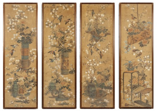 Set of four painted silk panels, Chine, 19th century