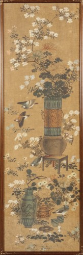 Set of four painted silk panels, Chine, 19th century - Asian Art & Antiques Style