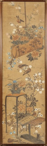 Asian Art & Antiques  - Set of four painted silk panels, Chine, 19th century